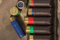 Patronbältepåse som jagar ammunitionar Arkivfoton