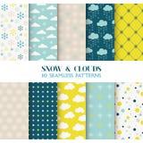 10 patronen - Sneeuw en Wolken Stock Afbeelding