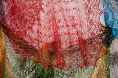 Patronen van de donsachtige sjaal van Orenburg Stock Fotografie