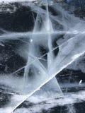 Patronen van ijs Bevroren water in de vorm van een ster Mooie abstractie royalty-vrije stock afbeelding