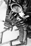 Patronengurt der Munition am Maschinengewehr Stockbild