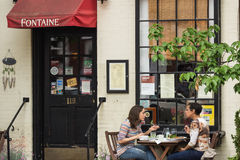 Patrons at Fontaine Cafe. Two Women Eating a Meal at Fontaine Cafe in Old Town Alexandria Virginia Stock Photos