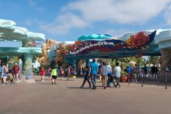 Entrance to sea world san diego california. Patrons visiting the park walk past the promenade of coral architecture Royalty Free Stock Image