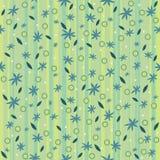 Patroon blauwe bloemen op een gestreepte achtergrond Royalty-vrije Stock Afbeeldingen