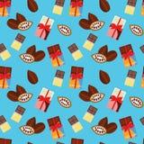Patroon - chocolade en cacaobonen Royalty-vrije Stock Fotografie