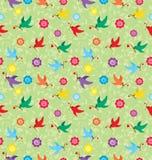 Patroon dat met vliegende vogels een tak met een hart draagt. vector illustratie