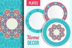 Patroon en reeks decoratieve platen vector illustratie