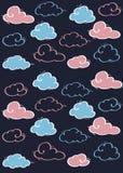 Patroon gekleurde wolken op een blauwe achtergrond Voor kinderen Blauw en Roze royalty-vrije illustratie