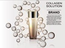 Patroon kosmetische die advertenties, de dalingen van de glasfles essentieolie op de achtergrondformule van de molecule worden ge Royalty-vrije Stock Foto's