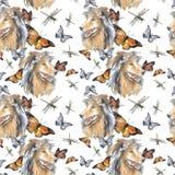 Patroon - langharige collie en vlinder vector illustratie