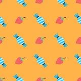 Patroon met aardbei en suikergoed Royalty-vrije Stock Afbeeldingen