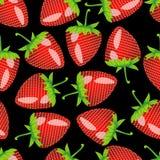 Patroon met aardbei op een zwarte achtergrond Stock Fotografie