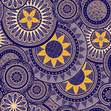 Patroon met abstracte bloemen, in geel en blauw Stock Foto