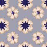 Patroon met abstracte bloemen in pastelkleur en blauwe schaduwen Royalty-vrije Stock Fotografie