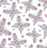 Patroon met abstracte bloemenvlinders Royalty-vrije Stock Afbeelding