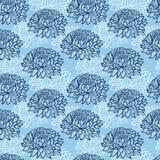 Patroon met abstracte hand getrokken chrysanten Stock Foto