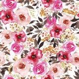 Patroon met abstracte waterverf roze en rode bloemen stock illustratie