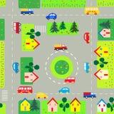 Patroon met auto's en straten Royalty-vrije Stock Fotografie