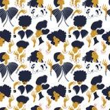 Patroon met babbelende meisjes in mooie kleding Royalty-vrije Illustratie