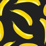 Patroon met bananen op een zwarte achtergrond Royalty-vrije Stock Foto's