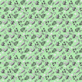 Patroon met bladeren op een groene achtergrond Stock Afbeelding