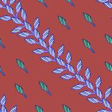 Patroon met blauwe bladeren op rode achtergrond in Afrikaanse stijl stock illustratie