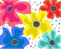 Patroon met bloemen en bladeren in zwarte, geel, roze, blauw en rood op witte achtergrond royalty-vrije illustratie