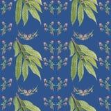 Patroon met bloemen en boomtak royalty-vrije illustratie