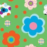 Patroon met bloemen op groene achtergrond Stock Foto's