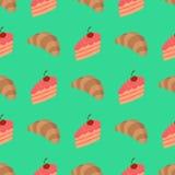 Patroon met cake en croissant Stock Afbeeldingen
