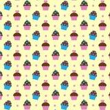 Patroon met cupcakes Stock Afbeeldingen