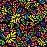 Patroon met decoratieve takken van verschillende kleuren De illustratie van de waterverf Stock Afbeelding