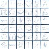 Patroon met diverse Christelijke symbolen Illustratie met moderne Christelijke godsdienstige tekens die een kleurrijk schaakbord  vector illustratie