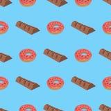 Patroon met doughnut en chocolade Royalty-vrije Stock Foto's