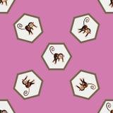 Patroon met een aap Stock Foto