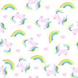 Patroon met eenhoorn, regenboog en hart Magisch paard op de witte achtergrond stock illustratie