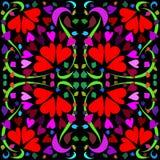 Patroon met flowerets-harten Royalty-vrije Stock Foto's