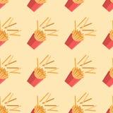 Patroon met frieten in een vlakke stijl Stock Afbeelding
