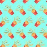 Patroon met frieten in een vlakke stijl Stock Fotografie