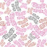 Patroon met gekleurde decoratieve vlinders Stock Foto's