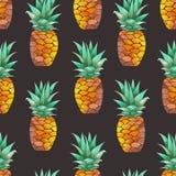 Patroon met gele waterverfananassen Royalty-vrije Stock Afbeeldingen