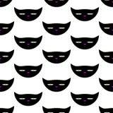 Patroon met gevaarlijk kattenhoofd royalty-vrije illustratie
