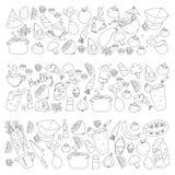 Patroon met gezond voedsel Kokende klasse, menuelementen voor restaurant, koffie Melk, roomijs, vissen, sap, avocado stock illustratie