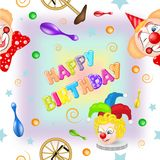 Patroon met grappig clowns en speelgoed stock illustratie