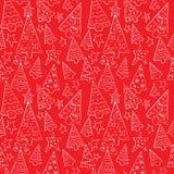 Patroon met grappige Kerstbomen Royalty-vrije Stock Afbeeldingen