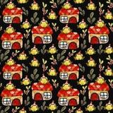 Patroon met groene kikkers stock afbeelding