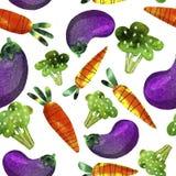 Patroon met groenten, wortelen, broccoli en aubergine stock illustratie