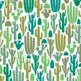 Patroon met groep cactuspictogrammen stock illustratie