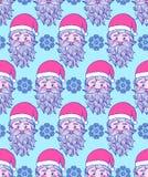 Patroon met hand getrokken hoofd van Kerstman Stock Foto