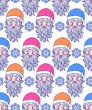 Patroon met hand getrokken hoofd van Kerstman Royalty-vrije Stock Afbeelding